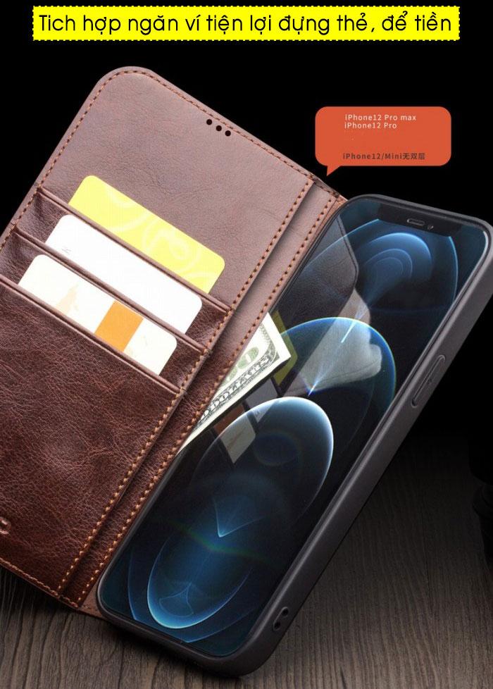 Bao da iPhone 12 Pro Max Qlino Wallet da bò thật 3