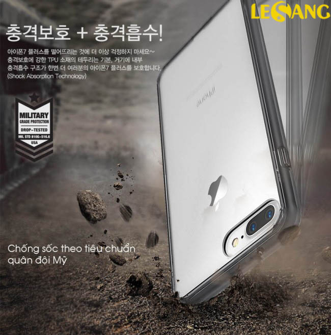 Ốp lưng iphone 7 Plus Ringke Fusion trong suốt chống sốc - 3