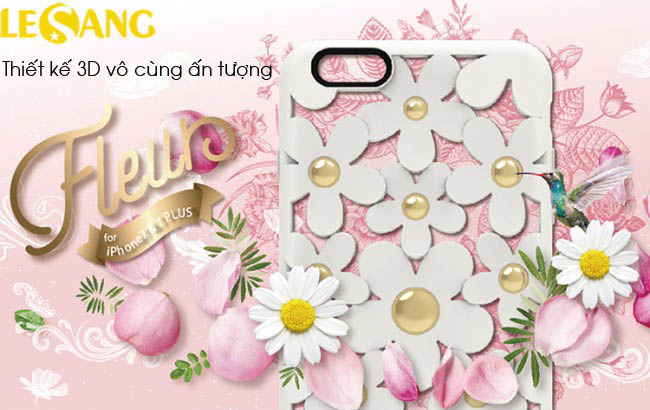 Ốp lưng iphone 7 / iPhone 8 SwitchEasy Fleur 3D in hoa nổi cực đẹp - 2