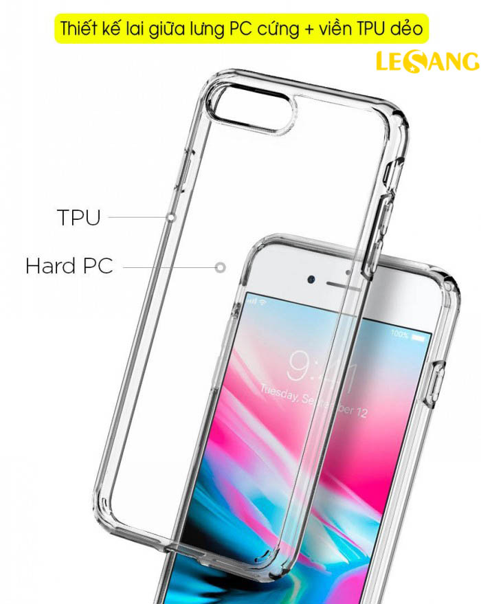 Ốp lưng iPhone 8 Plus Spigen Ultra Crytal trong suốt chống ố, chống sốc - 5