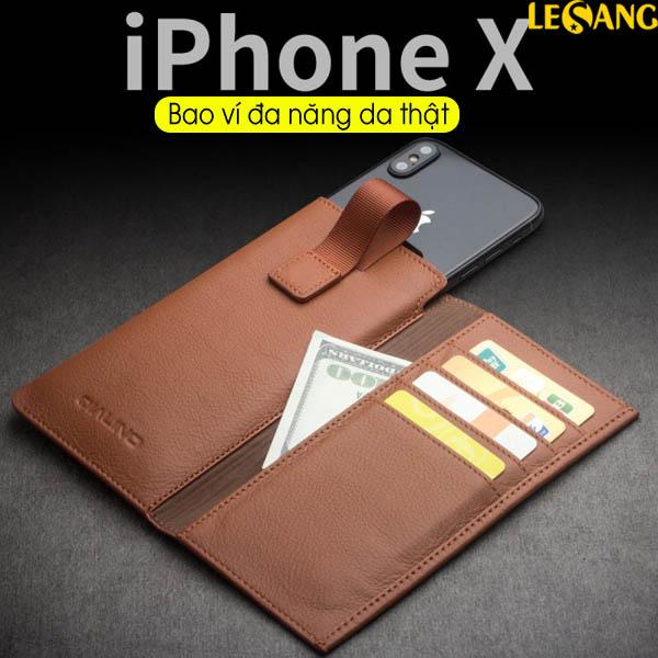 Bao da rút đa năng iPhone X / iPhone 10 Qlino da thật