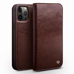 Bao da iPhone 12 Pro Max Qlino Wallet da bò thật